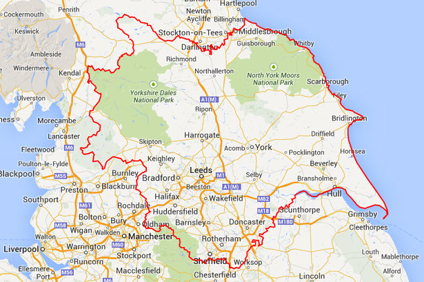 a picture of a map of yorkshire